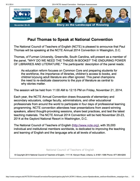 2014 NCTE Annual Convention - Participant Announcement copy