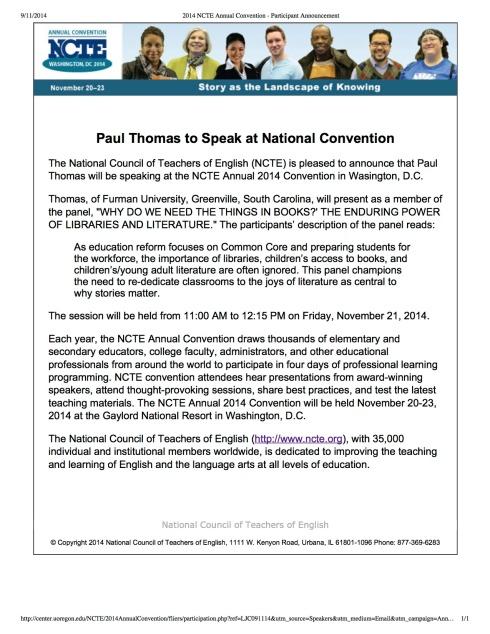 2014 NCTE Annual Convention - Participant Announcement copy