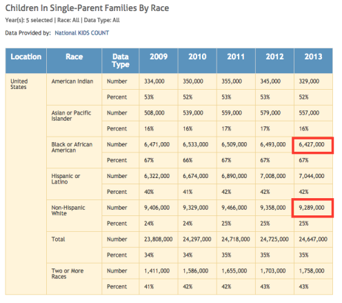 single parent by race